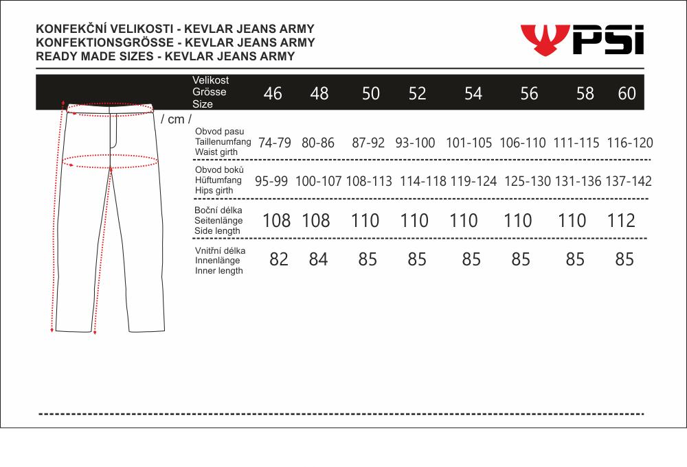 velikostní tabulka_kalhoty KEVLAR JEANS ARMY.png - PSí Hubík