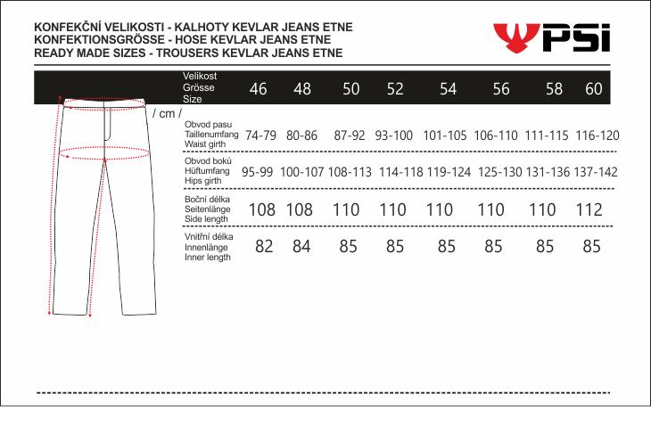 Velikostní tabulka_kalhoty KEVLAR JEANS ETNE.png - PSí Hubík