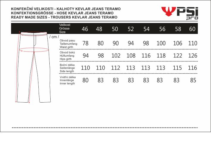 Velikostní tabulka_kalhoty KEVLAR JEANS TERAMO.png - PSí Hubík