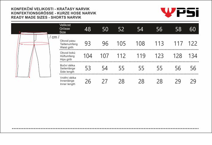 Velikostní tabulka_kraťasy NARVIK.png - PSí Hubík
